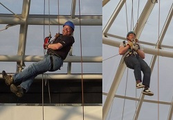 Two supporters abseiling