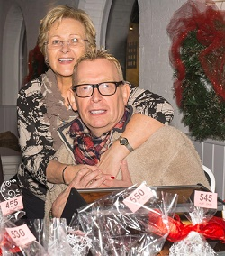 June Witcomb and Alan Wiggins at the Friends' tombola stall