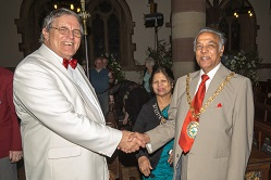 The Mayor, Councillor Ramesh Srivistava congratulates conductor Mike Minton on the superb concert