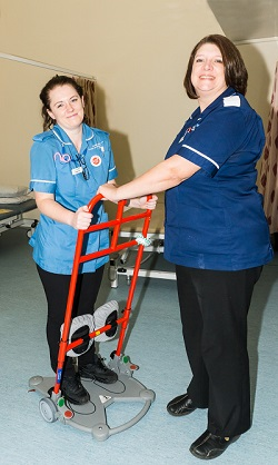 Ashleigh King and Clare Noden with the new patient supports.
